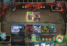 Artifact Game with cards on the board