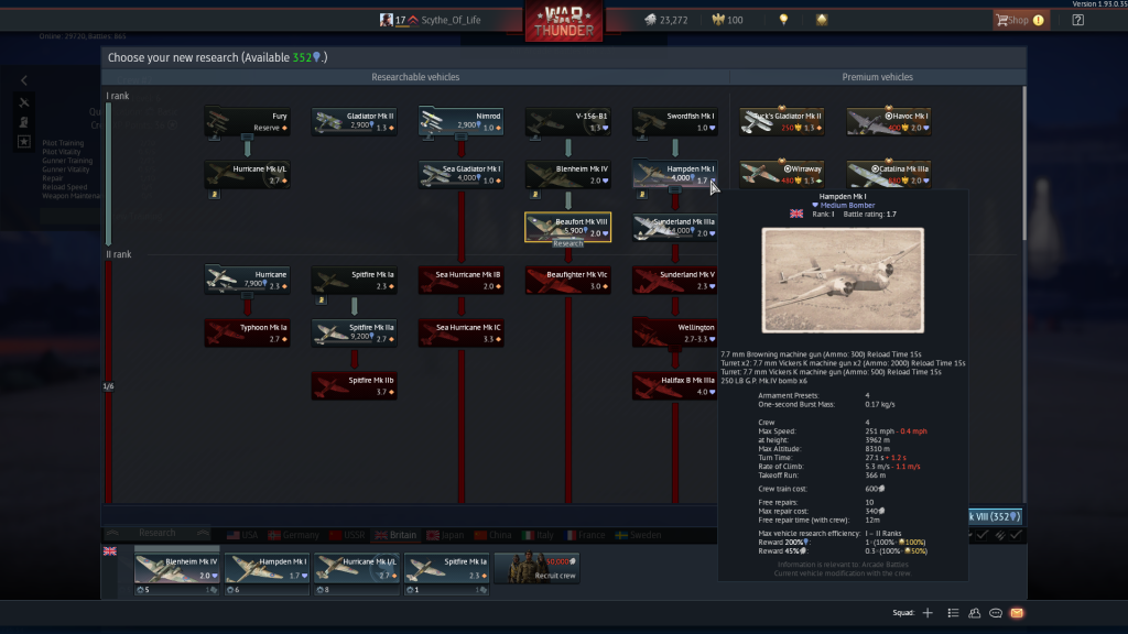 Research tree - War Thunder